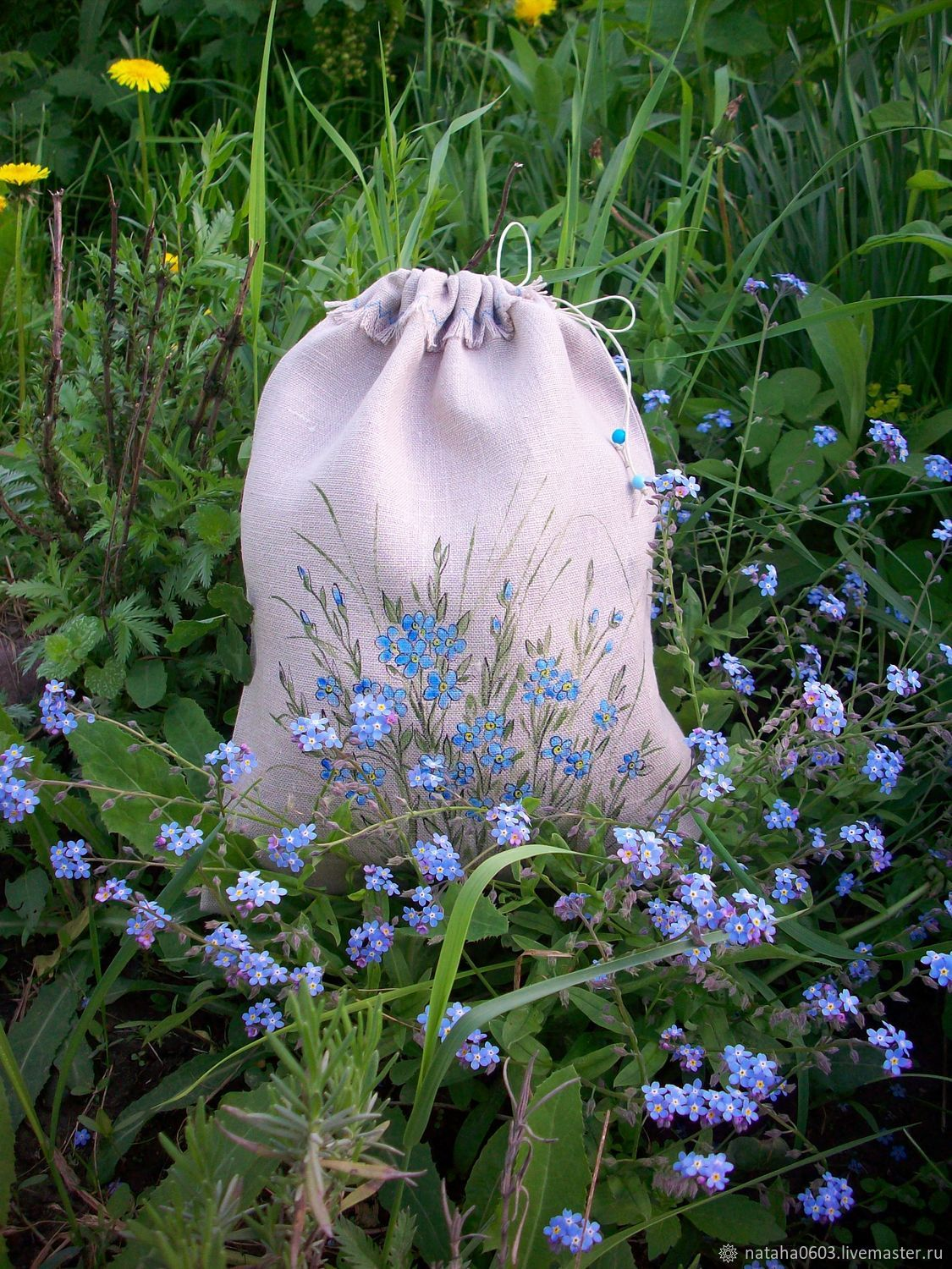 Linen bag with hand-painted Forget-me-nots, Bags, Shuya,  Фото №1