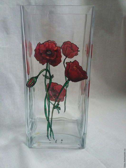 """Вазы ручной работы. Ярмарка Мастеров - ручная работа. Купить Ваза """"Маки """". Handmade. Комбинированный, ваза с цветами, стекло"""