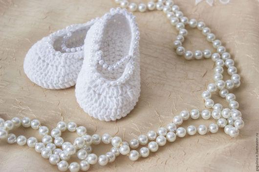 Для новорожденных, ручной работы. Ярмарка Мастеров - ручная работа. Купить Летние пинетки туфельки Жемчужина. Handmade. Белый