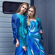 Одежда ручной работы. Ярмарка Мастеров - ручная работа Платье валяное42-44 размер  вечернее Лагуна. Handmade.