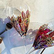 Посуда handmade. Livemaster - original item Wine glasses (pair) with stained glass painting. Handmade.