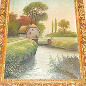 Старинная  картина пейзаж холст масло старинная рама