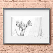 Картины и панно handmade. Livemaster - original item Painting interior Flowers Tulips Painting as a gift Painting on the wall. Handmade.