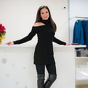 Одежда handmade. Livemaster - original item Black dress sweater Dress long sleeve winter dress. Handmade.