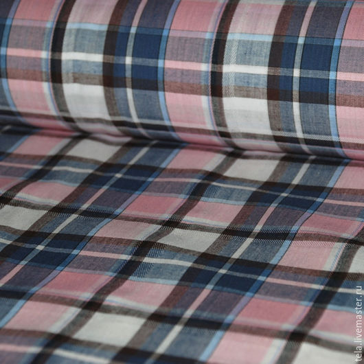 Хлопок рубашечный. Синяя с розовым клетка.Хлопок 100%. Ткань для шитья и рукоделия. В наличии остаток 2,5 м.