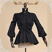Одежда handmade. Livemaster - original item Victorian Gothic Black Blouse Shirt. Handmade.