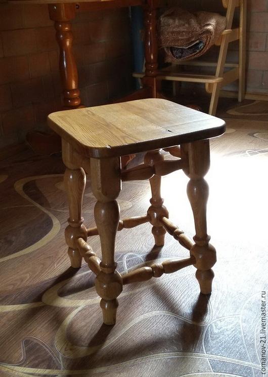 Мебель ручной работы. Ярмарка Мастеров - ручная работа. Купить Табурет из дуба в Славянском этностиле кантри. Handmade. Бежевый, для дачи