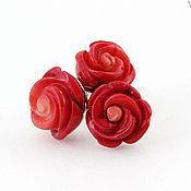 Украшения ручной работы. Ярмарка Мастеров - ручная работа Кольцо и серьги Букет для тебя. С розами из резного красного коралла. Handmade.