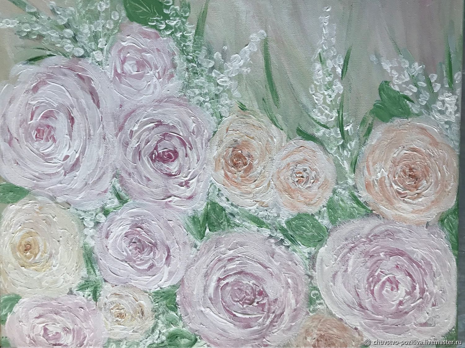 Painting with flowers of gentle roses 'a Little tenderness' 50h40, Pictures, Volgograd,  Фото №1