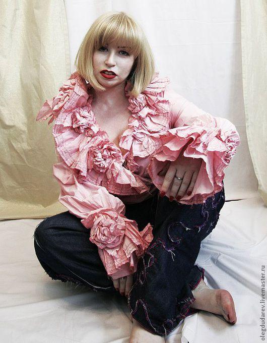 Блузки ручной работы. Ярмарка Мастеров - ручная работа. Купить блуза. Handmade. Коралловый, эксклюзивная одежда, винтажный стиль