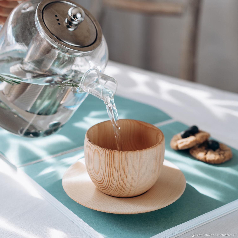 Чайная пара из сибирского кедра (кружка+блюдце) NC31, Кружки и чашки, Новокузнецк,  Фото №1
