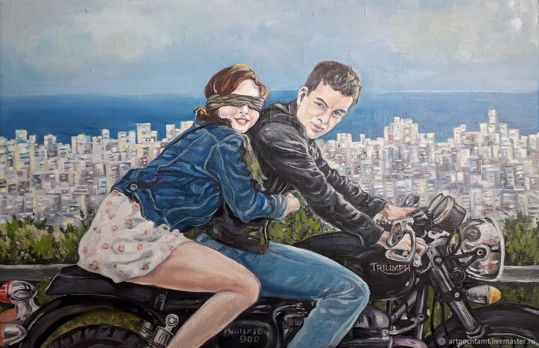 Moto Art Original Painting Love Couple Romantic Motorcycle Сity, Pictures, Murmansk,  Фото №1
