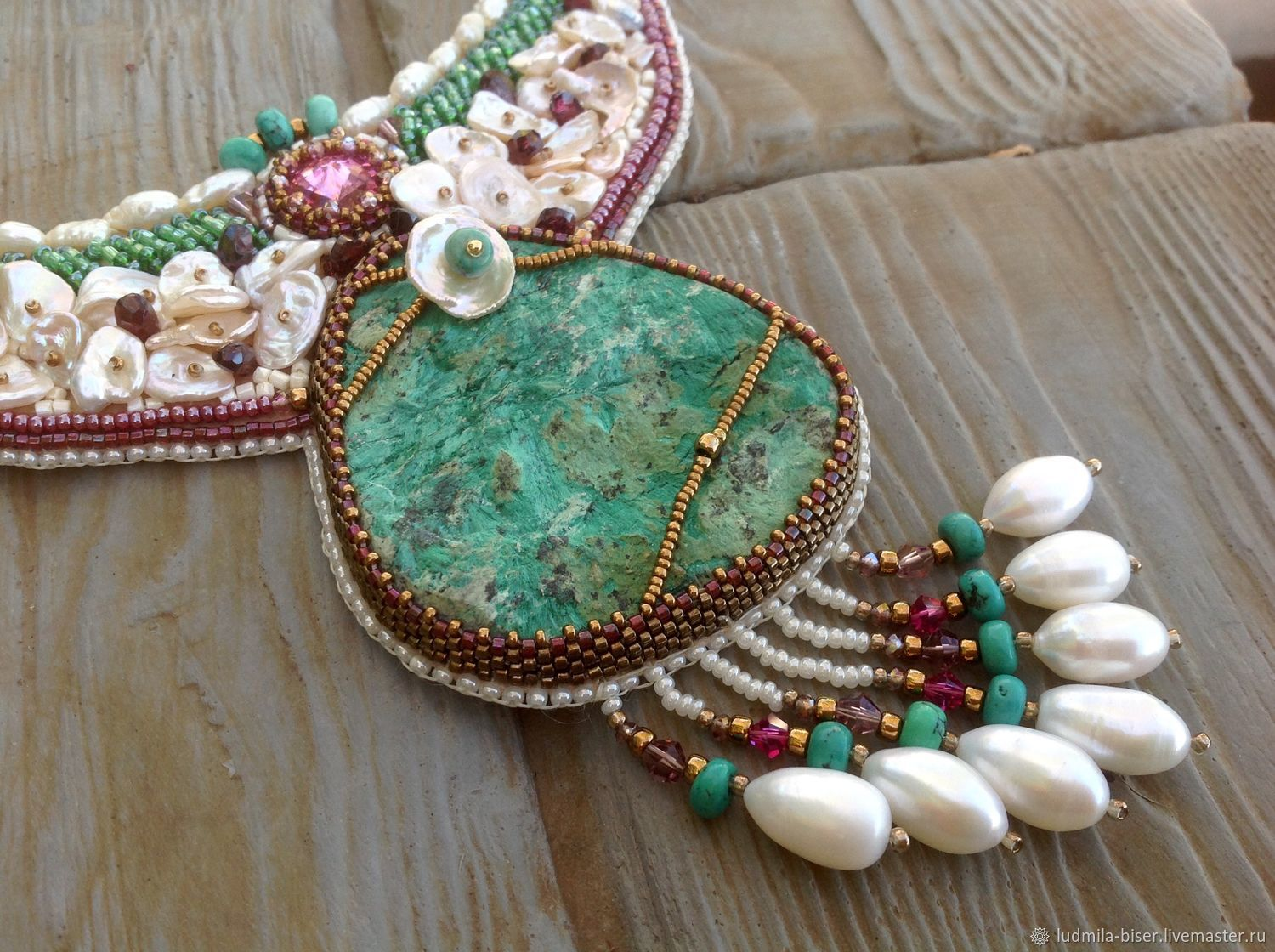Pearl necklace with garnet, radiant malachite and turquoise, Necklace, Moscow,  Фото №1