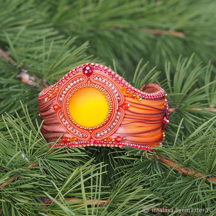 Bracelets handmade. Livemaster - handmade. Buy Auburn wide bracelet with Shibori silk ribbon.Handmade bracelet, elegant bracelet