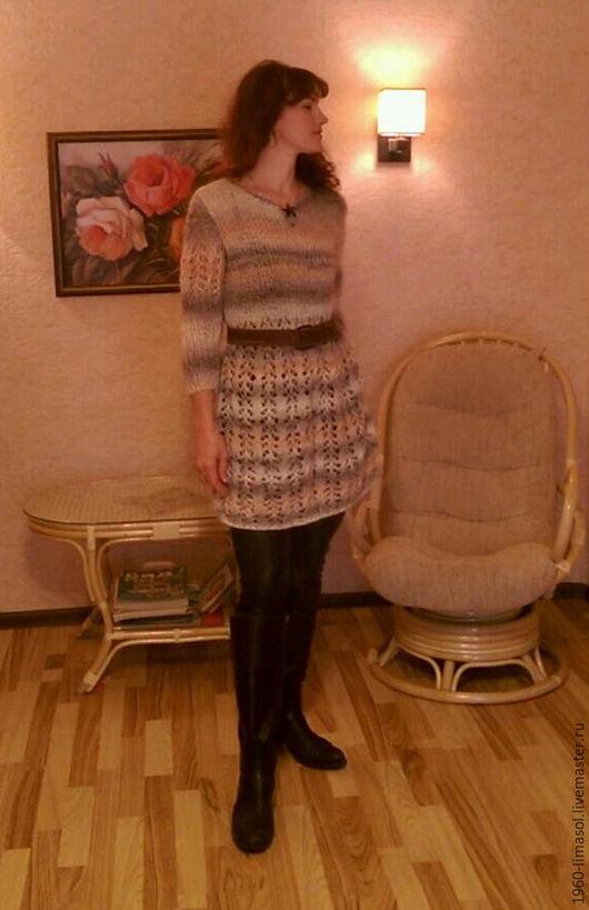 """Кофты и свитера ручной работы. Ярмарка Мастеров - ручная работа. Купить платье-туника  женская вязаная """"Anastasia"""" и повязка на голову. Handmade."""