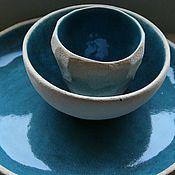 Посуда ручной работы. Ярмарка Мастеров - ручная работа Набор Стакан Тарелка Пиала Океан. Handmade.