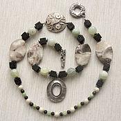 """Украшения handmade. Livemaster - original item Бусы """"Дуги и грани"""" из яшмы и лавового камня. Handmade."""