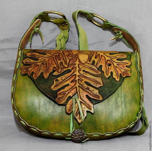 """Женские сумки ручной работы. Ярмарка Мастеров - ручная работа. Купить Сумка """"Листья дуба """" из натуральной кожи с гравировкой. Handmade."""