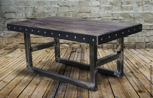 Мебель ручной работы. Ярмарка Мастеров - ручная работа. Купить Брутальный стол с заклепками. Handmade. Лофт, черный, массив дерева