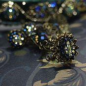 Украшения ручной работы. Ярмарка Мастеров - ручная работа комплект к ободку. Серьги и кольцо с вышивкой бисером. Handmade.