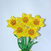 Flowers handmade. Livemaster - original item Beaded flowers Yellow daffodils. Handmade.