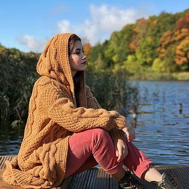 Одежда ручной работы. Ярмарка Мастеров - ручная работа Вязаное пальто с ромбами в цвете кэмел. Handmade.