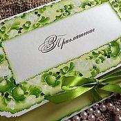 """Свадебный салон ручной работы. Ярмарка Мастеров - ручная работа Приглашение конверт из серии """"Зеленое яблоко"""".. Handmade."""