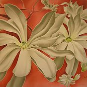 Картины и панно ручной работы. Ярмарка Мастеров - ручная работа Цветы магнолии. Handmade.