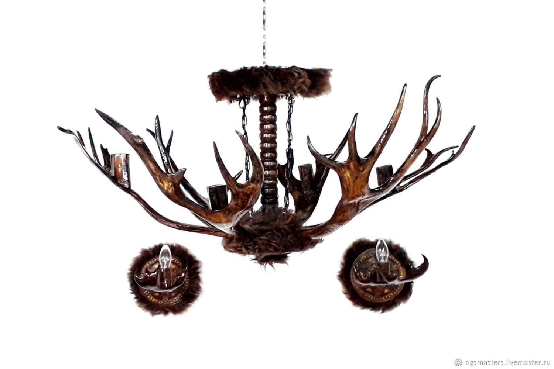 светильники из оленьих рогов фото
