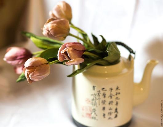 Букеты ручной работы. Ярмарка Мастеров - ручная работа. Купить Тюльпаны. Цветы из шелка. Handmade. Кремовый, интерьерная композиция