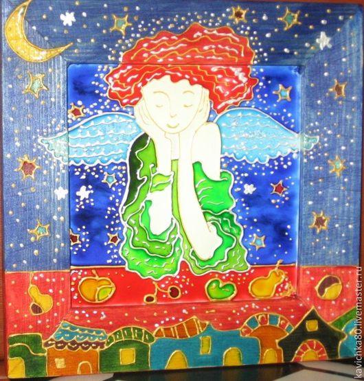 Фантазийные сюжеты ручной работы. Ярмарка Мастеров - ручная работа. Купить Рыжий ангелочек (роспись стекла). Handmade. Ангел, стекло