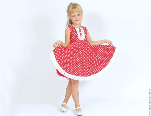 Одежда для девочек, ручной работы. Ярмарка Мастеров - ручная работа. Купить Нарядное платье для девочки из американского хлопка в горошек 110-116. Handmade.
