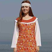 Одежда handmade. Livemaster - original item Long cotton orange dress. Handmade.