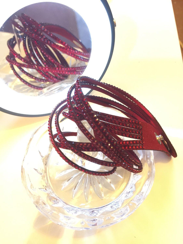 Браслет кожаный с кристаллами Сваровски