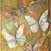 Картины и панно ручной работы. Ярмарка Мастеров - ручная работа Картина трехслойная на шелке Бабочки Золотого солнца.... Handmade.
