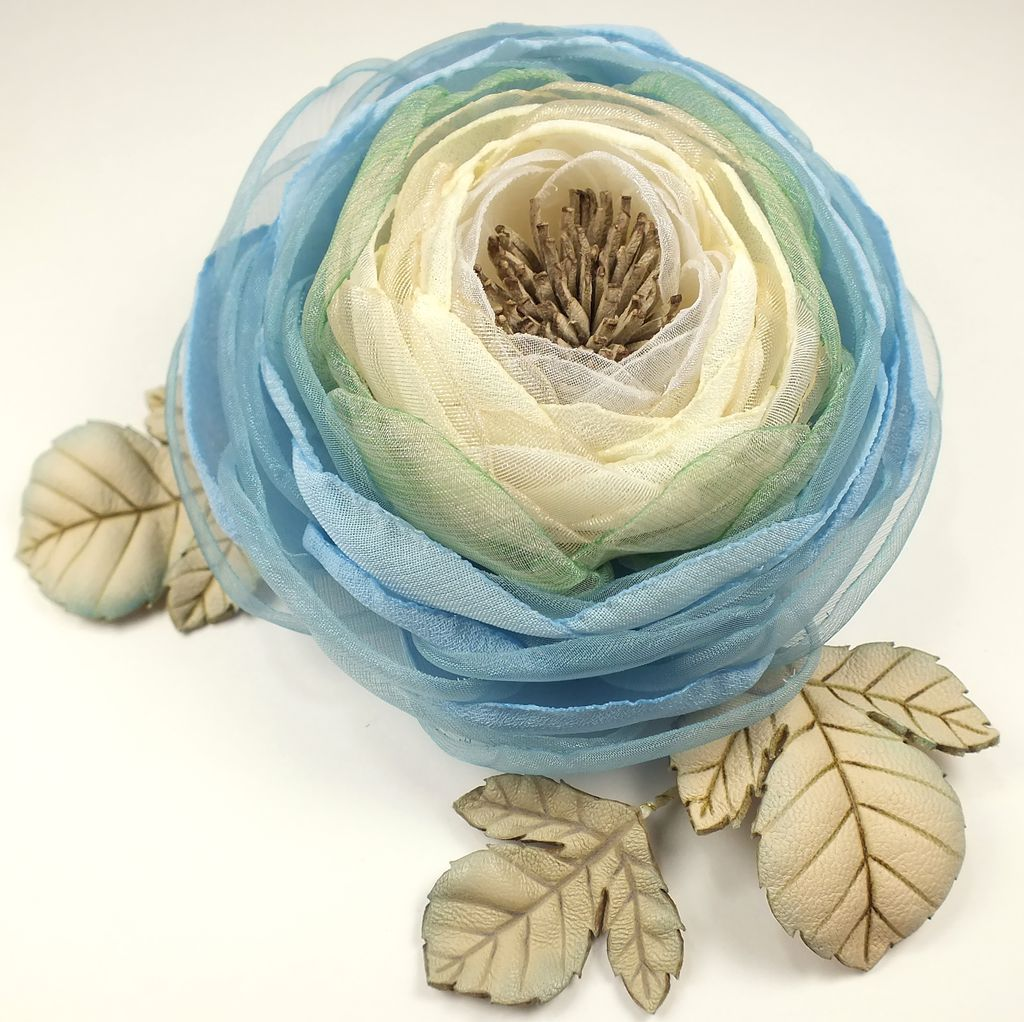 Morning Cloud Valley. Brooch-flower is made of fabric and genuine leather, Brooches, St. Petersburg,  Фото №1
