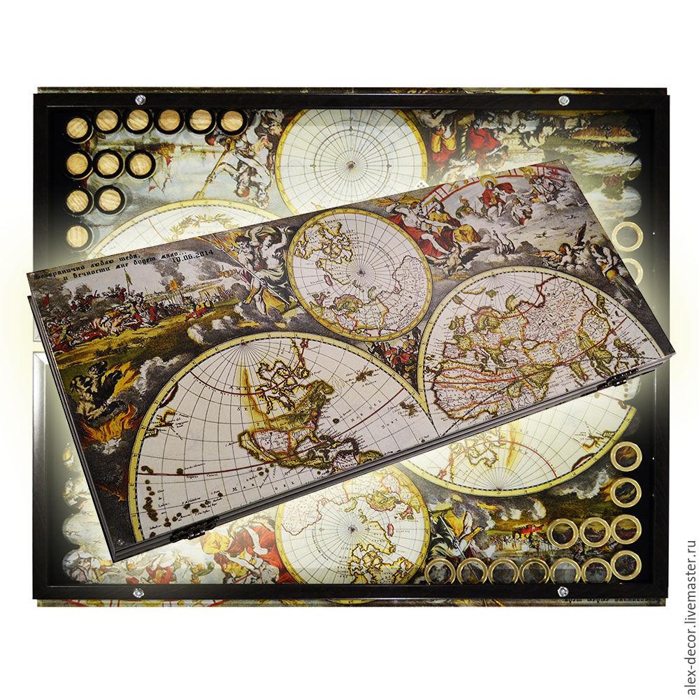 Эксклюзивные стеклянные нарды ATLAS OF THE WORLD (серия S), Нарды шашки, Харьков,  Фото №1