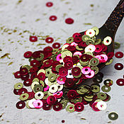 Материалы для творчества handmade. Livemaster - original item Sequins: 57) 4 mm double-sided Gold-raspberry metallic 2 grams. Handmade.