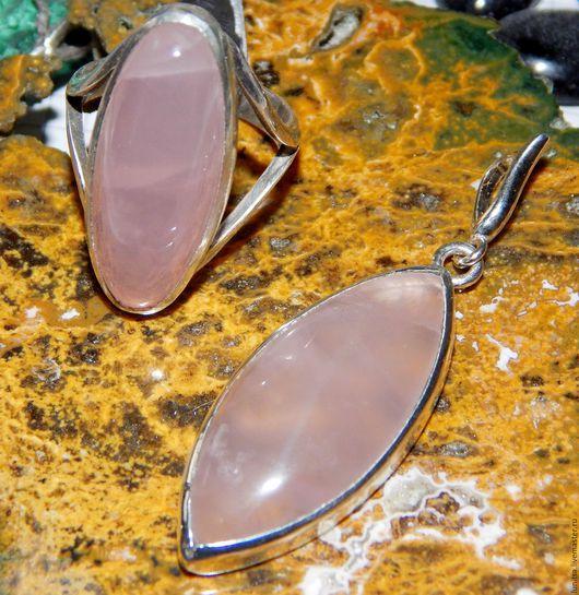 Кольца ручной работы. Ярмарка Мастеров - ручная работа. Купить Комплект с розовым кварцем в серебре. Handmade. Розовый, розовый кварц