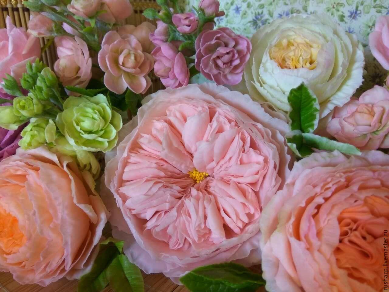 Интерьерные композиции ручной работы. Ярмарка Мастеров - ручная работа. Купить Пионовидная роза из полимерной глины. Handmade. Розовый