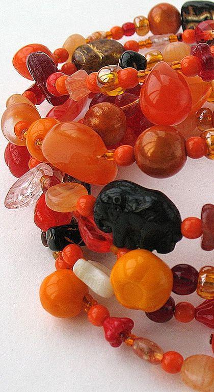 """Браслеты ручной работы. Ярмарка Мастеров - ручная работа. Купить """"Апельсиновый рай"""" браслет. Handmade. Легкий, яркий, оранжевый"""