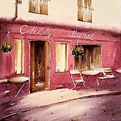 Pictures handmade. Livemaster - original item Painting Paris restaurant landscape. Picture of a cafe in Paris red in Europe. Handmade.