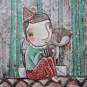 """Картины и панно ручной работы. Ярмарка Мастеров - ручная работа """"Я играю..на гармошке.."""". Handmade."""