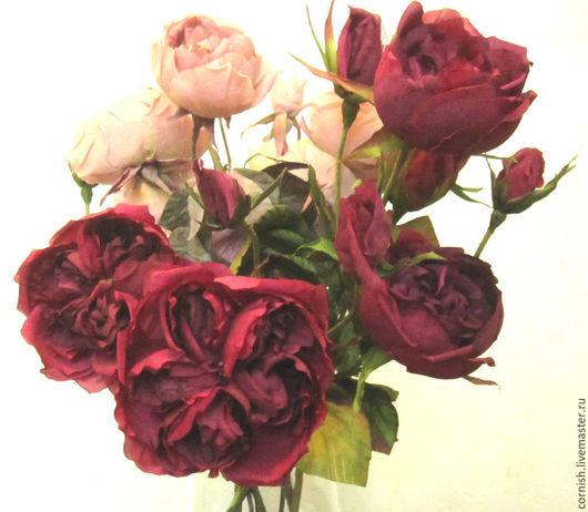 Букеты ручной работы. Ярмарка Мастеров - ручная работа. Купить Цветы ручной работы. Декор интерьера. Бордовые английские розы. Handmade.