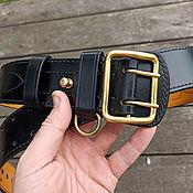Аксессуары handmade. Livemaster - original item Leather belt belt mod.Komandir Lux Black. Handmade.