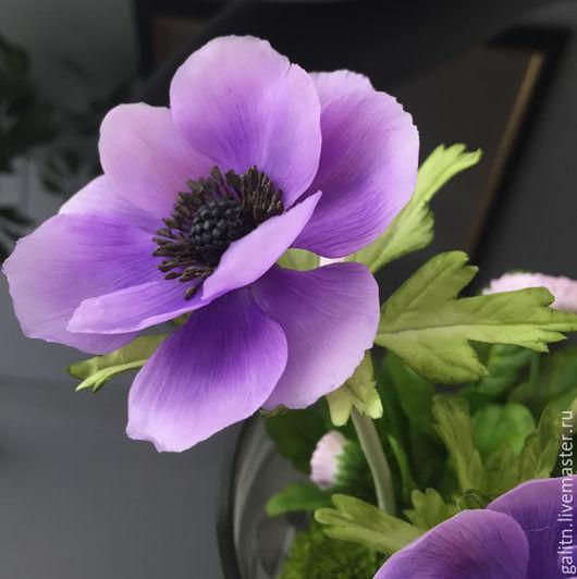 Интерьерные композиции ручной работы. Ярмарка Мастеров - ручная работа. Купить Анемоне, цветок вдохновения..... Handmade. Сиреневый, красивый подарок