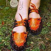 """Обувь ручной работы. Ярмарка Мастеров - ручная работа Кожаные сандалии """"Brown & Orange"""". Handmade."""