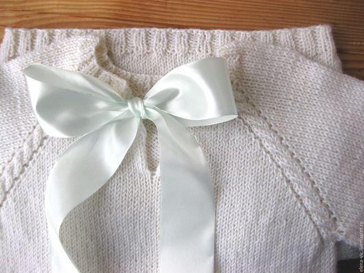 Одежда для девочек, ручной работы. Ярмарка Мастеров - ручная работа. Купить Белое вязаное платье с лентами. Handmade. Белый, платье