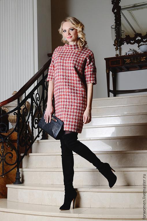 платья из ткани гусиная лапка фото