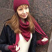 Аксессуары ручной работы. Ярмарка Мастеров - ручная работа Твидовый комплект из шапки, бактуса и митенок. Handmade.